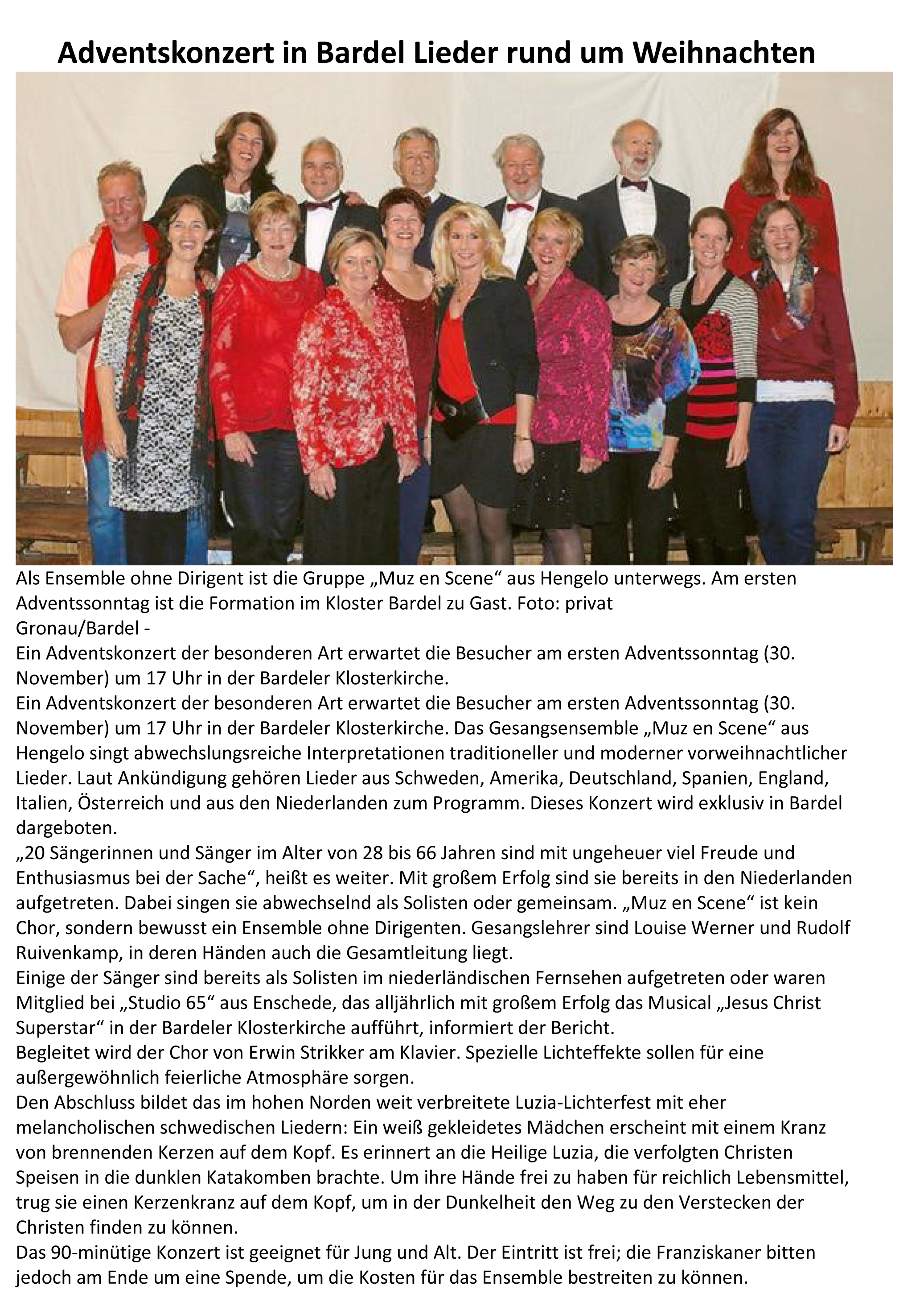 Adventskonzert in Bardel mod 2014